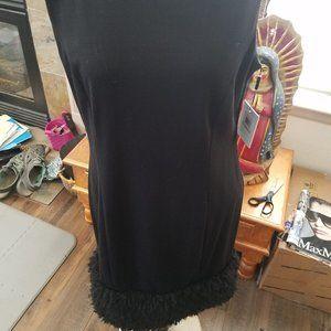 Calvin Klein black shift dress with fringe
